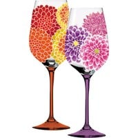 Blackboard Bouquet Floral Wine Glasses