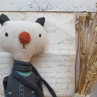 Handmade cat doll - Fabric cloth - Soft stuffed toy - For girl or boy.