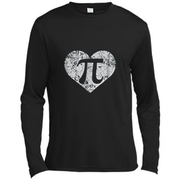 I Love Pi  Funny Cute Math Nerd Teacher 3.14 Gift Long Sleeve Moisture Absorbing Shirt