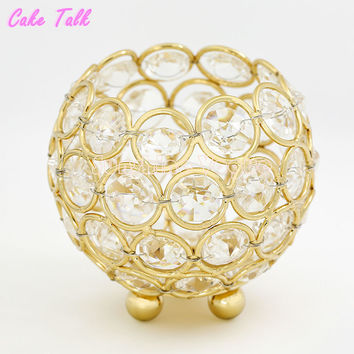 Wedding candle holders gold/silver crystal bowl glass 8*9cm tealight candle stand home decoration candy bar patry supplier