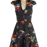 ModCloth Vintage Inspired Long Cap Sleeves A-line Surprise Sunset Dress in Tropical