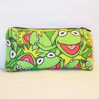 "Kermit the Frog Muppet Faces Print Flannel Padded Pipe Pouch 5.5"" / Glass Pipe Case / Spoon Cozy / Piece Protector / Pipe Bag / SMALL"