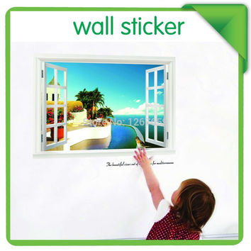 new fake window wallpaper ,decorative wall stickers,large home decoration,Summer style, SM6