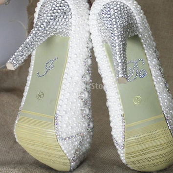 I Do Wedding Bridal Shoes Sticker Rhinestone Motif - Clear = 1932504068