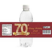 Diamond 70th Birthday Water Bottle Labels