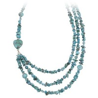 """Sterling Silver and Turquoise Nugget 3 Row Necklace, 20+3"""" Extender"""