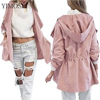 New 2017 Women Jack Coat Autumn Long Sleeve Hooded Coat Jacket Casual Elastic Waist Pocket Kimono Female Loose Outwear