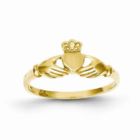 Ladies 14kt yellow gold claddagh ring