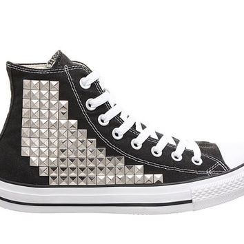 Studded Converse, Converse Black High Top with Silver Pyramid Studs by CUSTOMDUO on ETSY