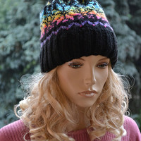 Black and rainbow cap / hat Knitted Slouchy cable style beanie hat - womens chunky - accessories - baggy slouch - thick and extra warm