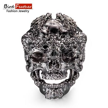 Gold color Zinc Alloy Men Ring Cool Dragon Skull Hip Hop Rings for Women Vintage Punk Fashion Jewelry 2018 New Arrival Hot Sale