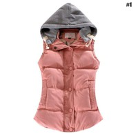 Winter Ladies Plus Size Vest Hooded Short Warm Vest