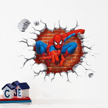 PEAPGB2 3d Cartoon Spiderman wall stickers for kids rooms home decor Kids Nursery Wall Decals Home decoration Boy room gift Wallpaper