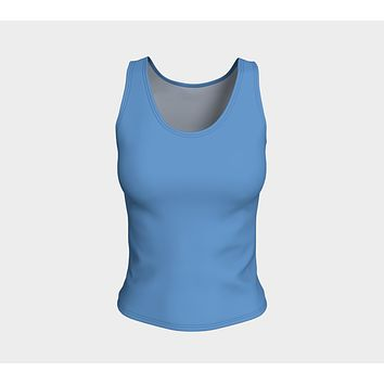 Solid Fitted Tank Top - Blue
