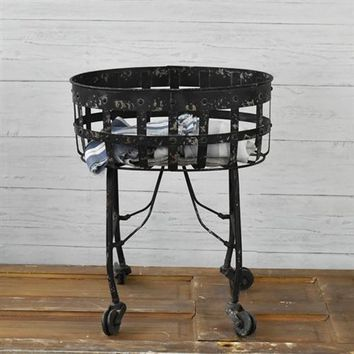 Vintage Style Distressed Black Rolling Laundry Cart