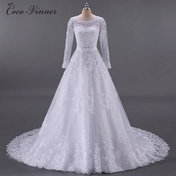 C.V Vestidos De Noiva Ball Gown Wedding Dress 2018 Long Sleeves Wedding Dresses Pearls Tulle Robe Ee Mariage Casamento W0009