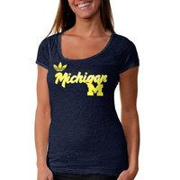 adidas Michigan Wolverines Ladies Brushed Script Scoop Slim Fit Burnout T-Shirt - Navy Blue