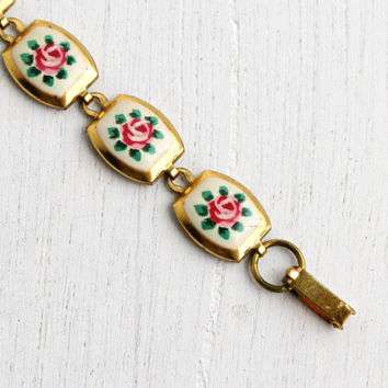 Vintage Enamel Flower Bracelet - 1950s White & Pink Floral Brass Panel Costume Jewelry / Romantic Roses
