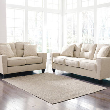 2 pc Forsan nuvella collection sand fabric upholstered sofa and love seat set with squared arms