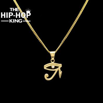 2017 Stainless Steel The Eye Of Horus Charming Pendant Necklace Gold Color Ancient Egyptian Necklace Jewelry With Cuban Chain