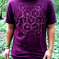 hand painted metatron cube, wine red shirt by moot, nature, hippie, sacred geometry by moot
