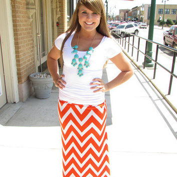 Stretch Chevron Maxi Skirt in Orange and White