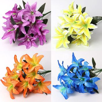 ONE Bunch Multicolor Artificial Lily Flower Bouquet Bridal Flowers for Wedding