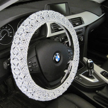 Crochet Steering Wheel Cover, Wheel Cozy - denim ragg (CSWC 2AAA)