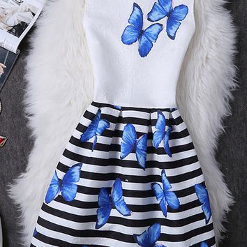 Casual Round Neck Butterfly Printed Striped Skater Dress