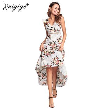 Ruiyige Women Floral Print Dress Lace Hollow Out Sexy Dresses Split Backless Summer Party Boho Zipper Maxi Beach Vestidos 2018