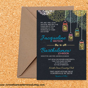 DIY Wedding Invitation Template Printable, Editable PDF Template, Instant Download, Digital, Chalkboard Mason Jars and Fireflies #1CM77-1