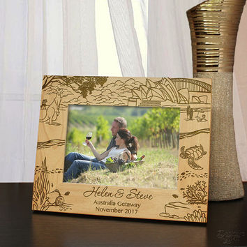 Australian Getaway Outback Inspired Picture Frame Design Engraved with Font Selection (Select Size, Design, and Frame Orientation)