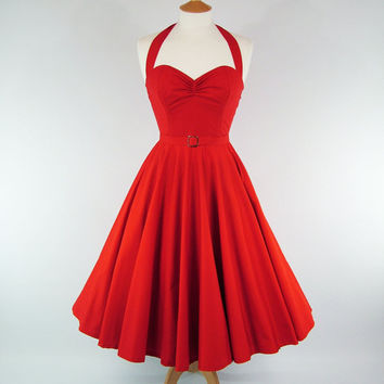 MADE TO MEASURE Red Boned Full Skirt Dress with by GinAndSinEtsy