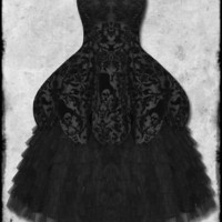 Hell Bunny Lavintage Black Goth Steampunk VTG Victorian Long Flocked Prom Dress