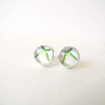 Xbox 360 Icon Stud Earrings - Glass Cabochons Post Earrings - Glass Dome Stud - White and Green