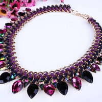 Crystal Drip Bib Necklace
