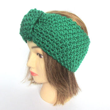 Earwarmer headband Irish handknit bright green 100% wool women knitted teenager skiing holiday winter fall chunky knit Johanna Crafts