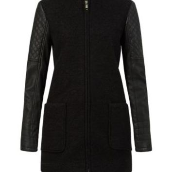 Black Leather-Look Sleeve Wool Coat