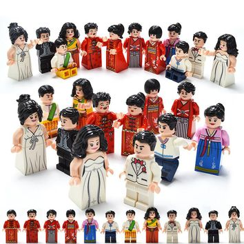 12 Pcs/set DIY Figures Wedding style in different countries Building Blocks Toys Kids Educational City Set For Children gifts