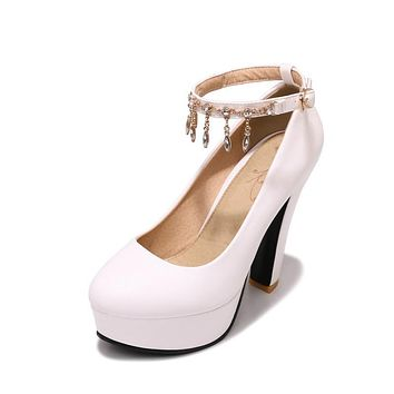 Rhinestone Ankle Strap Platform Pumps Women High Heel Wedding Shoes 2017