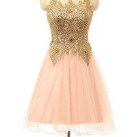 OnlineDress Scoop Crystals Short Beads Cocktail Prom Homecoming Dress