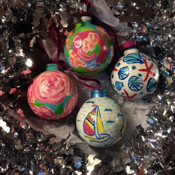Boxed Set of Four Hand-Painted Lilly Pulitzer Inspired Ceramic Christmas Ornaments