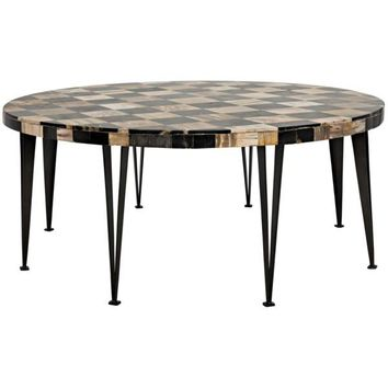 Kerri Round Coffee Table, Fossil and Metal