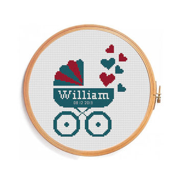 Pram cross stitch / Digital personalized pattern for cross stitch