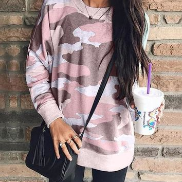 New Pink Camouflage Long Sleeve Round Neck Casual Sweatshirt