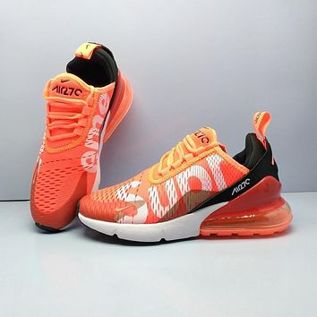 Supreme X Nike Air Max 270 Flyknit Orange Sport Running Shoes
