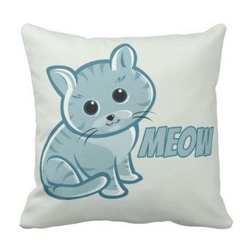 Teal Blue Cute Cat Throw Pillow