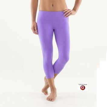 DCCKNQ2 Lululemon Wunder Under Crop Women Sport Leggings Pants Trousers-6