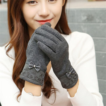 Solid Color Lace Bow-knot  Gloves
