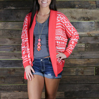 Spring Time Aztec Cardigan- Coral